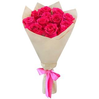 Букет Розовые розы в крафте из 11 роз